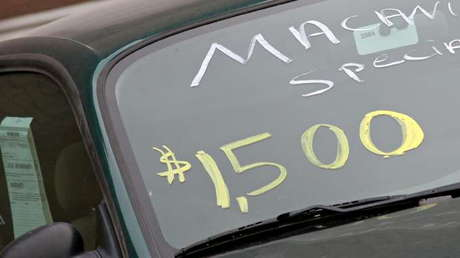Used Car Price On Windshield