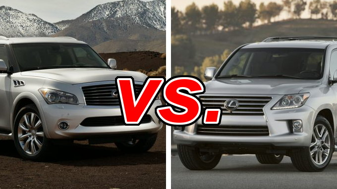 2014 lexus lx 570 vs 2013 infiniti qx56 compare reviews. Black Bedroom Furniture Sets. Home Design Ideas