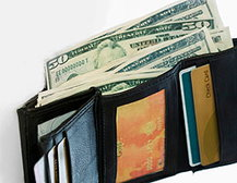 Wallet, Cash and Credit Cards
