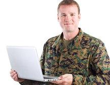 Veteran holding a laptop