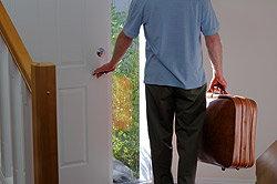 Man leaving home