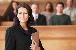 Woman in front of jury