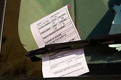 Parking ticket on a Windshield