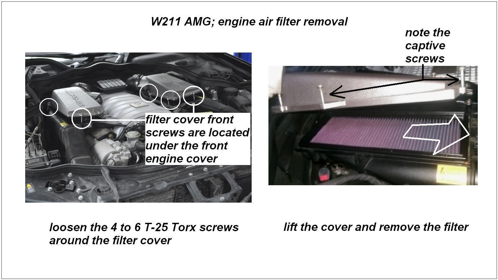 Mercedes benz e class amg w211 how to replace engine air for Mercedes benz e350 air filter replacement