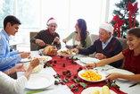 family eating at christmas table