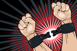 illustration of person breaking shackles