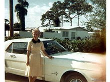Grandma Leona on the day she drove the car home - 1965