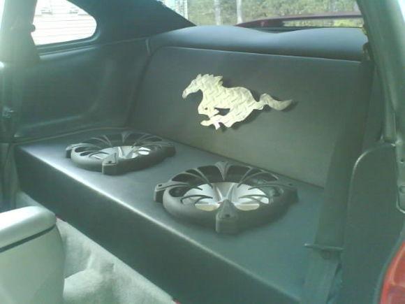 My custom built rear seat delete/ sub box.  (for sale btw)