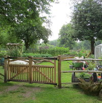 We were asked to build a small vegetable garden using natural timber for the fence, gates and gardenarch. All the wood was Sweet Chestnut green, gate furniture was forged by local blacksmith