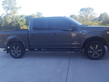 2016 f150 xlt fx4. 2in rough country leveling kit. Stock tires, husky mud gaurds