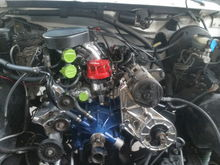 Powder coated brackets and intake. Just wanted a little shine under the hood. I never disconnected the compressor so I couldnt't clean it up to good. Thought it would be good enough. Thought wrong! This is the problem we have with doing rebuilds.... Where do you stop! FYI, the PS bracket is off a 1986 E150 ford Van that used a saginaw style pump. One of the 1st  and best mods I did up to this point. No more PS pump whine.