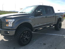 6 inch lift, 20 inch wheels -18 offset, Nitto 35 inch tires. Still super smooth ride and no lack of power!