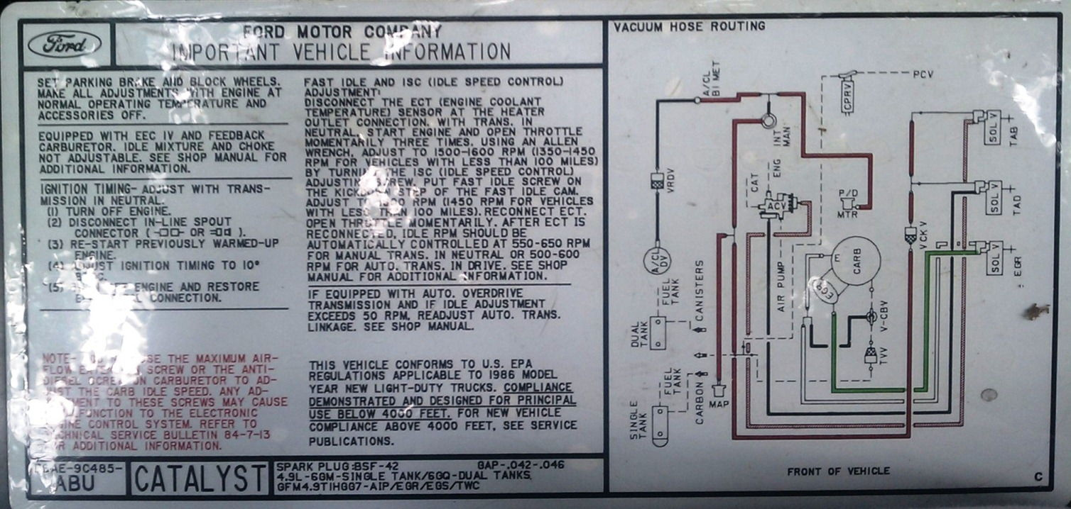 1438138 1985 Ford F150 300 Inline 6 Smog Help on 1986 ford f 150 fuse box diagram