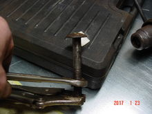 """Bed Bolt Removal Trick. I have a 4""""X4""""X1/4"""" plate to use like a washer to cover the ripped part of the bed"""