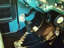 "New Hurst V-Matic 3 shifter installed with a 2"" high block underneath it to make it easier to reach"