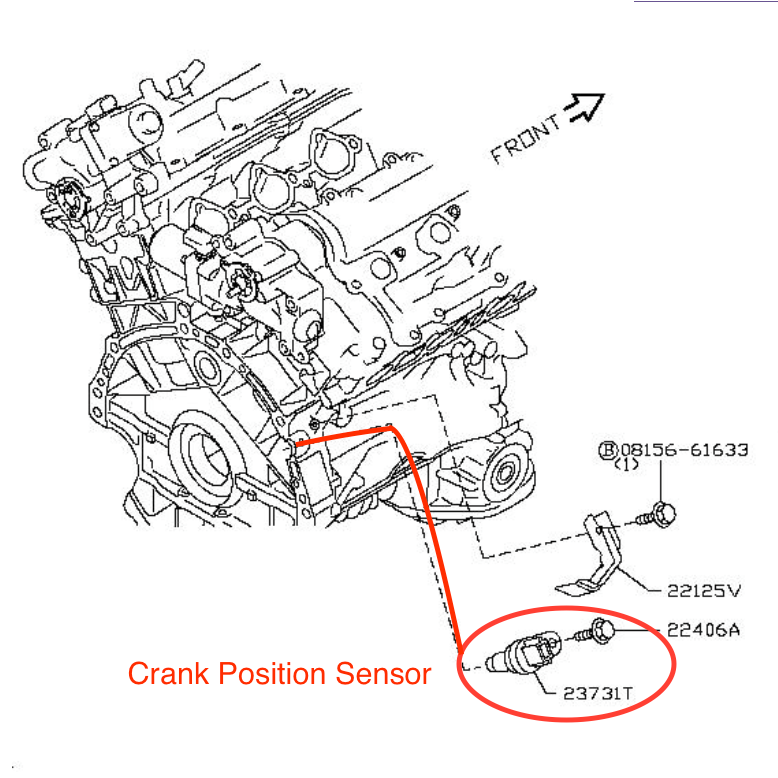 How To Replace 1996 Infiniti I Crank Angle Sensor on 2001 Infiniti I30 Engine Diagram