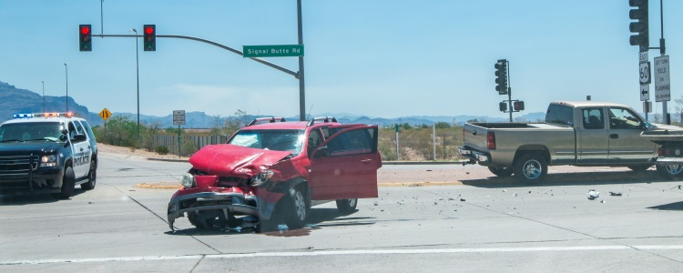 red light car crash