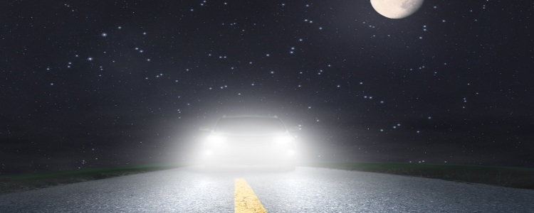car headlights at night