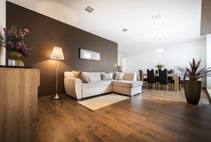 A minimalistic living room.