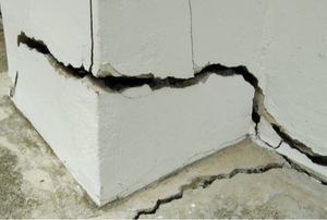 home foundation with large crack