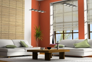 stylish contemporary living room with large, natural window shades, couches, and coffee table