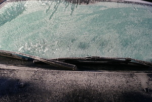 icy car windshield in winter