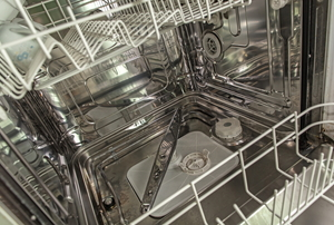 the inside of a dishwasher