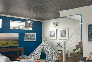 A basement with a ceiling of wood planks.