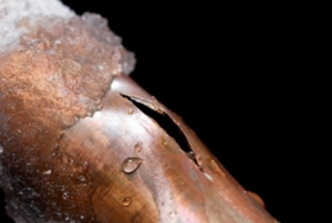A copper pipe that's burst open from the cold weather.