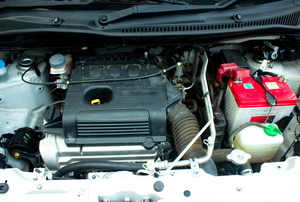 A look at a car under the hood.
