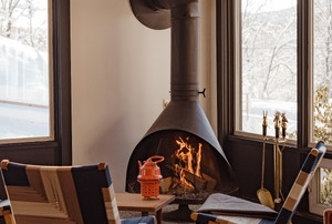 an indoor fireplace in a living room