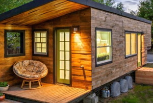 A cozy, wooden, tiny home