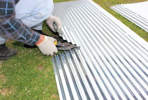 Cutting corrugated metal with sheers