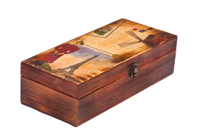A decoupaged box.