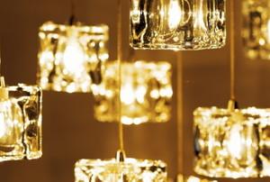 dangling glass cube lights