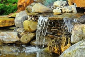 A garden rock waterfall.