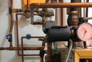 boiler system with pipes