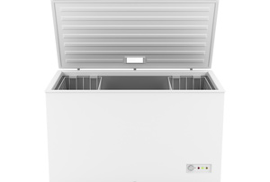 A chest freezer with the lid open on a white background.