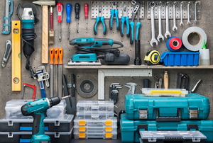 Tools in a garage.