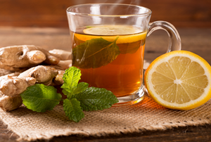 cup of tea, mint, ginger, and lemon