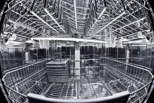The inside of a dishwasher.
