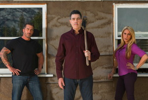 Adam Carolla and crew on the set of Catch a Contractor.