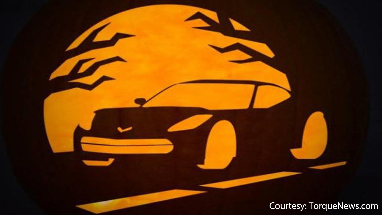 Corvette pumpkin stencil