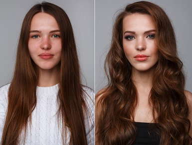 Before and after pictures of a girl getting her hair done.