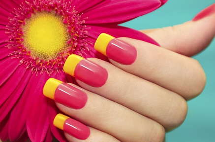 Image of manicured fingers holding a flower.
