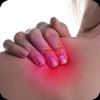 close up image of hand massaging a shoulder