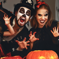 Costumed Halloween family