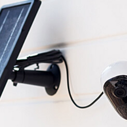 Home security camera mounted outdoors