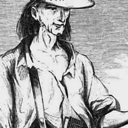 charcoal drawing of Johnny Appleseed