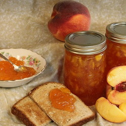 peach jam, peaches and toast